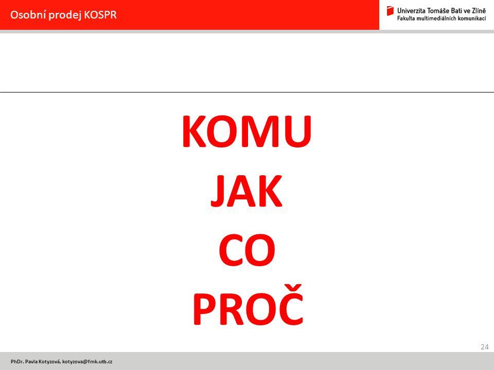 24 PhDr. Pavla Kotyzová, kotyzova@fmk.utb.cz Osobní prodej KOSPR KOMU JAK CO PROČ