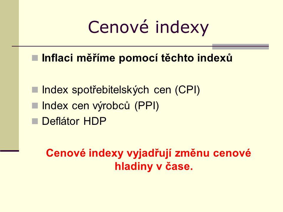 Cenové indexy Inflaci měříme pomocí těchto indexů Index spotřebitelských cen (CPI) Index cen výrobců (PPI) Deflátor HDP Cenové indexy vyjadřují změnu cenové hladiny v čase.