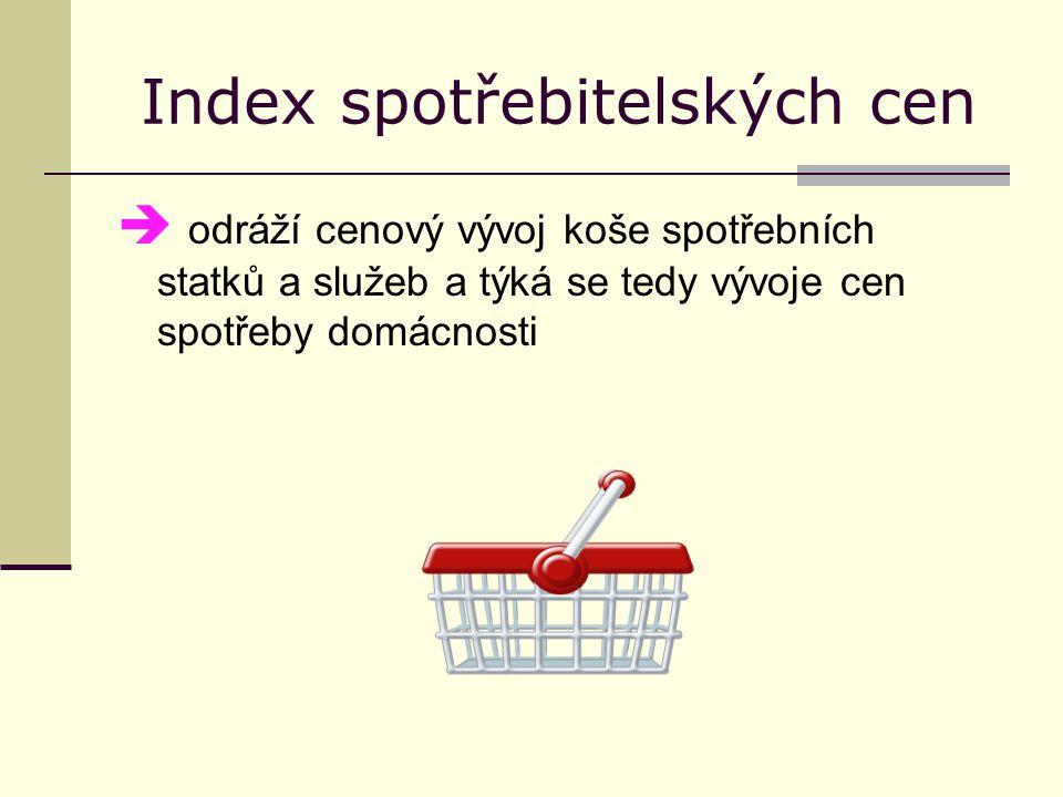 spotřební (koš spotřebních statků)  zahrnuje všechny výrobky a služby, které spotřebovává průměrná domácnost  v koši jsou různé produkty nebo služby např.