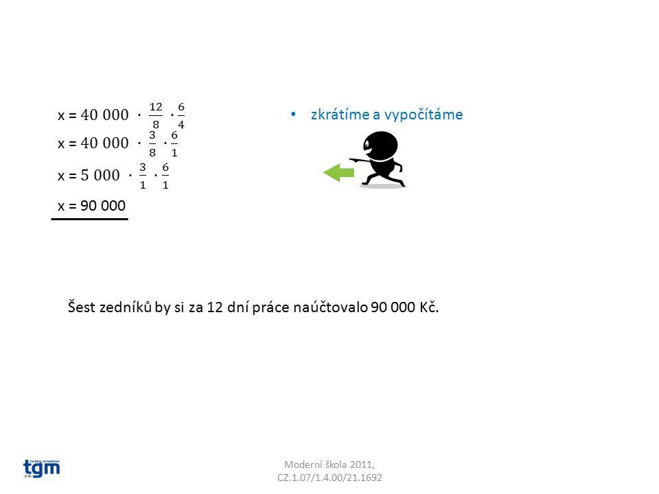 Moderní škola 2011, CZ.1.07/1.4.00/21.1692 x = 90 000 zkrátíme a vypočítáme Šest zedníků by si za 12 dní práce naúčtovalo 90 000 Kč.