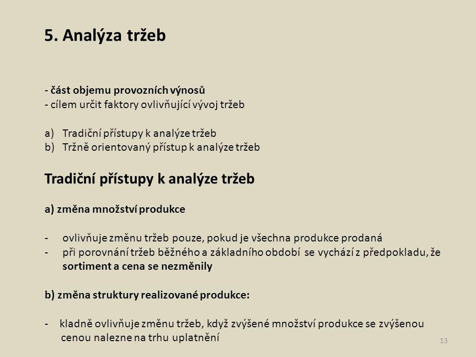 5. Analýza tržeb - část objemu provozních výnosů - cílem určit faktory ovlivňující vývoj tržeb a)Tradiční přístupy k analýze tržeb b)Tržně orientovaný