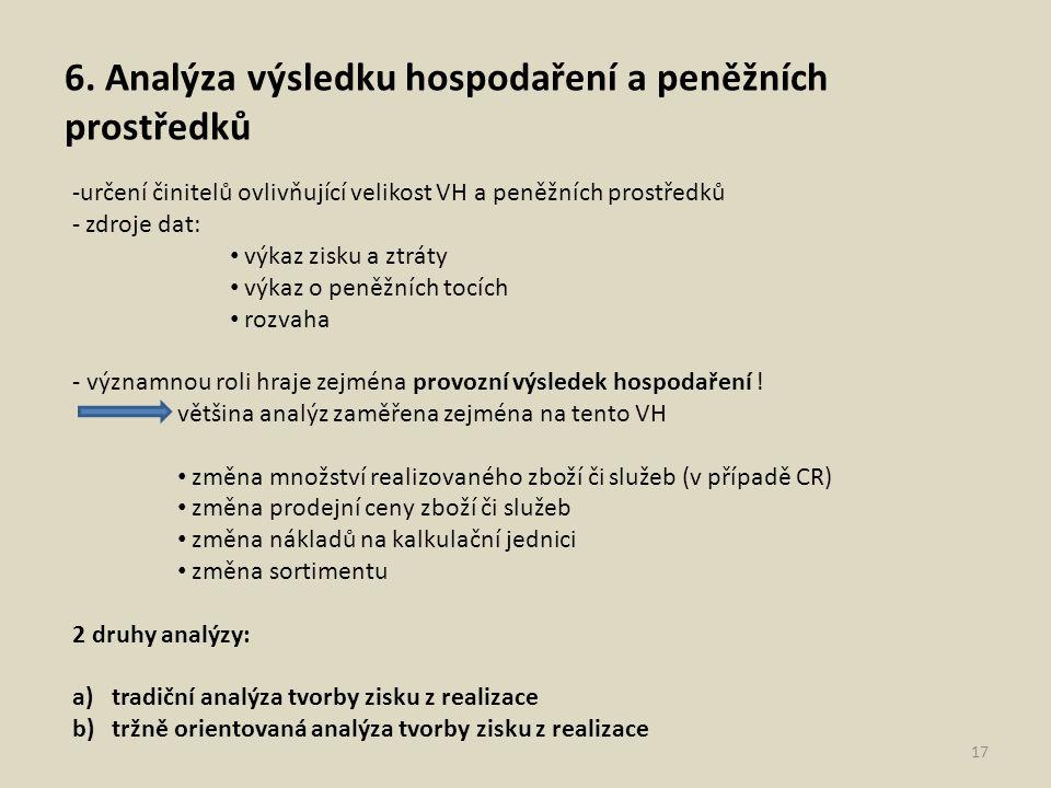 6. Analýza výsledku hospodaření a peněžních prostředků 17 -určení činitelů ovlivňující velikost VH a peněžních prostředků - zdroje dat: výkaz zisku a