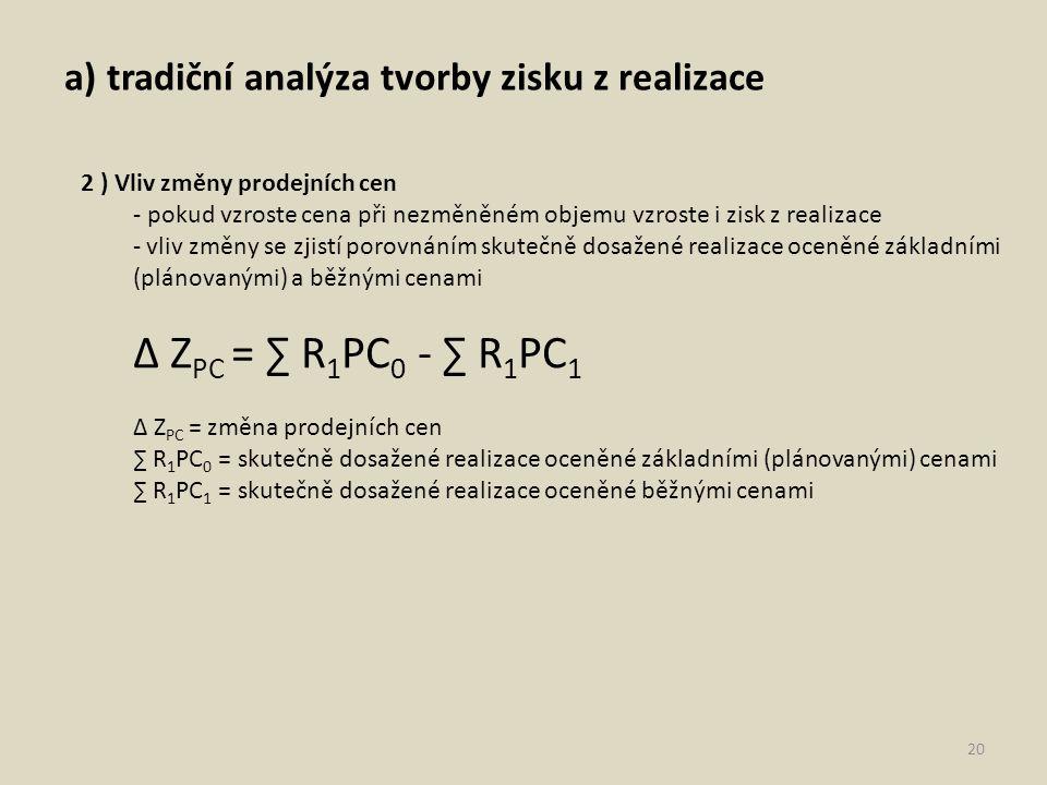 a) tradiční analýza tvorby zisku z realizace 20 2 ) Vliv změny prodejních cen - pokud vzroste cena při nezměněném objemu vzroste i zisk z realizace - vliv změny se zjistí porovnáním skutečně dosažené realizace oceněné základními (plánovanými) a běžnými cenami ∆ Z PC = ∑ R 1 PC 0 - ∑ R 1 PC 1 ∆ Z PC = změna prodejních cen ∑ R 1 PC 0 = skutečně dosažené realizace oceněné základními (plánovanými) cenami ∑ R 1 PC 1 = skutečně dosažené realizace oceněné běžnými cenami