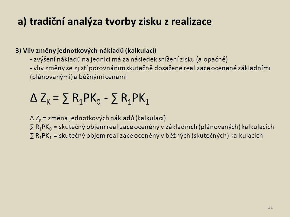 a) tradiční analýza tvorby zisku z realizace 21 3) Vliv změny jednotkových nákladů (kalkulací) - zvýšení nákladů na jednici má za následek snížení zisku (a opačně) - vliv změny se zjistí porovnáním skutečně dosažené realizace oceněné základními (plánovanými) a běžnými cenami ∆ Z K = ∑ R 1 PK 0 - ∑ R 1 PK 1 ∆ Z K = změna jednotkových nákladů (kalkulací) ∑ R 1 PK 0 = skutečný objem realizace oceněný v základních (plánovaných) kalkulacích ∑ R 1 PK 1 = skutečný objem realizace oceněný v běžných (skutečných) kalkulacích