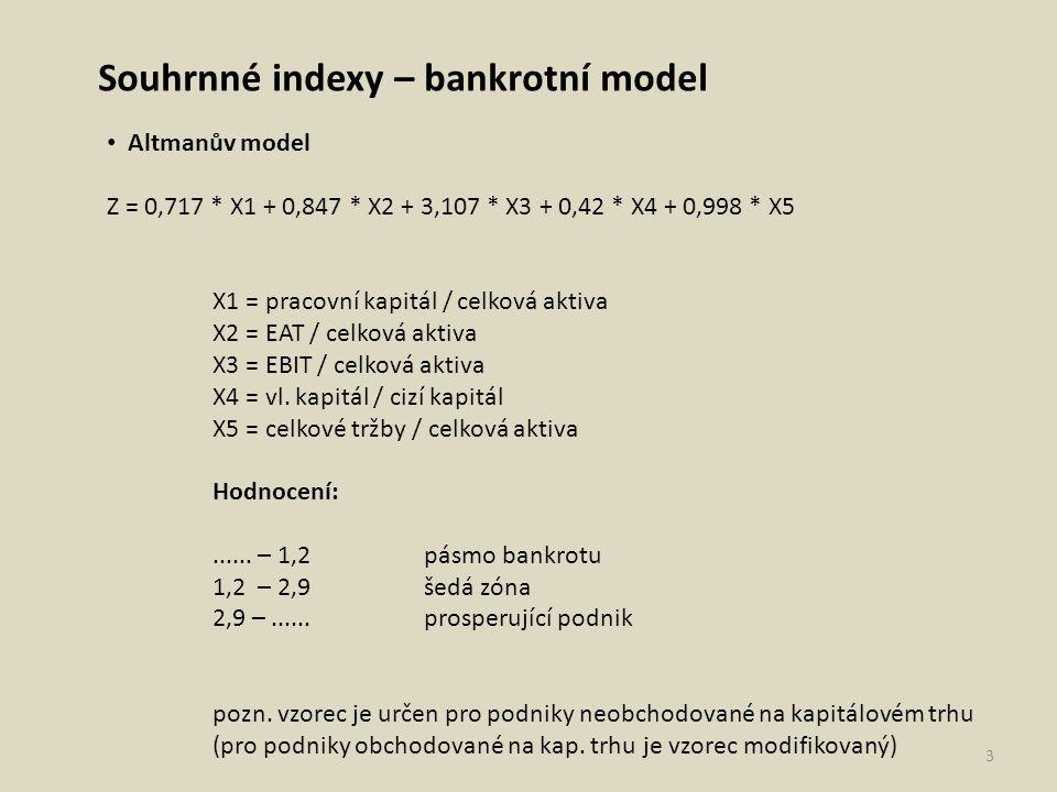 Souhrnné indexy – bankrotní i bonitní model IN 05 IN = 0,13 * Aktiva/Cizí zdroje + 0,04 * EBIT/Nákladové úroky + 3,97 * EBIT/Aktiva + 0,21 * Výnosy/Aktiva + 0,09 * Oběžná aktiva/(Krátkodobé závazky + Krátkodobé bankovní úvěry) IN > 1,6: Podnik tvoří hodnotu IN < 0,9: Podnik hodnotu netvoří (ničí) IN mezi hodnotami 0,9 a 1,6: tzv.