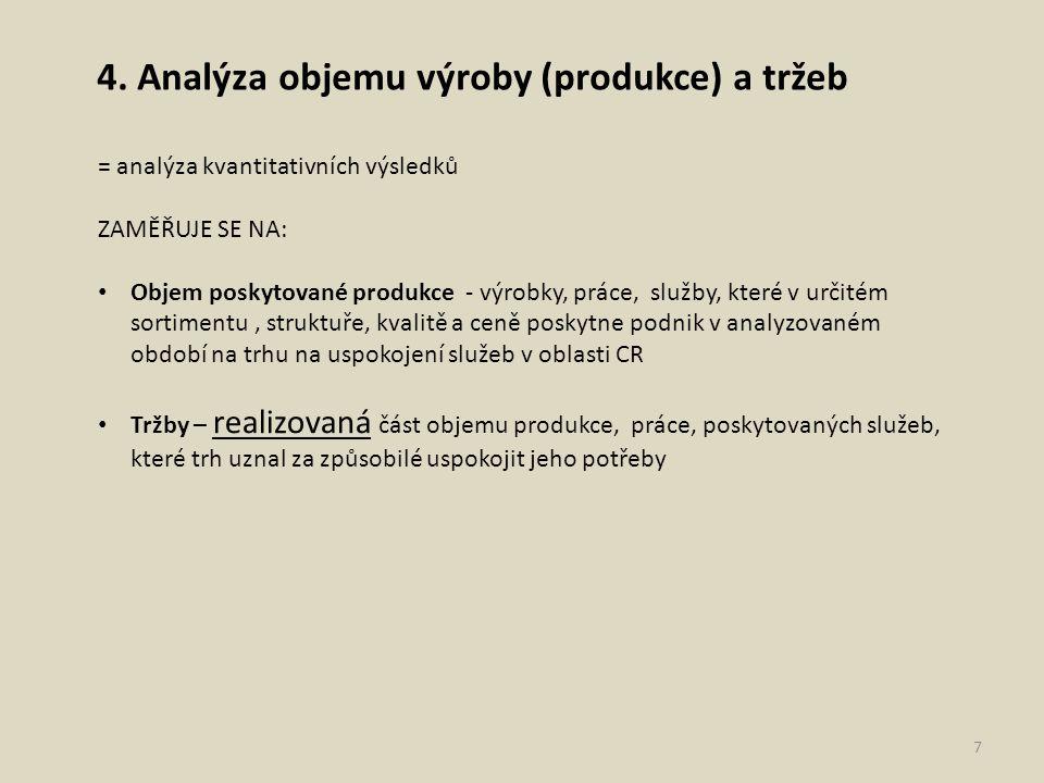 4. Analýza objemu výroby (produkce) a tržeb = analýza kvantitativních výsledků ZAMĚŘUJE SE NA: Objem poskytované produkce - výrobky, práce, služby, kt