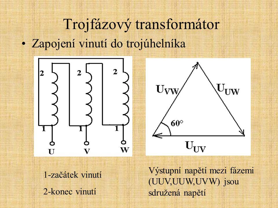 Trojfázový transformátor Zapojení vinutí do trojúhelníka Výstupní napětí mezi fázemi (UUV,UUW,UVW) jsou sdružená napětí 1-začátek vinutí 2-konec vinutí