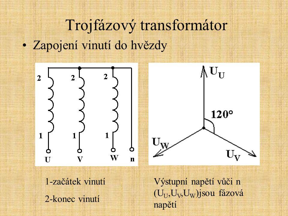 Trojfázový transformátor Zapojení vinutí do lomené hvězdy 1-začátek vinutí 2-konec vinutí Výstupní napětí vůči n (U U,U V,U W )jsou fázová napětí, závity N z = 1,15N y