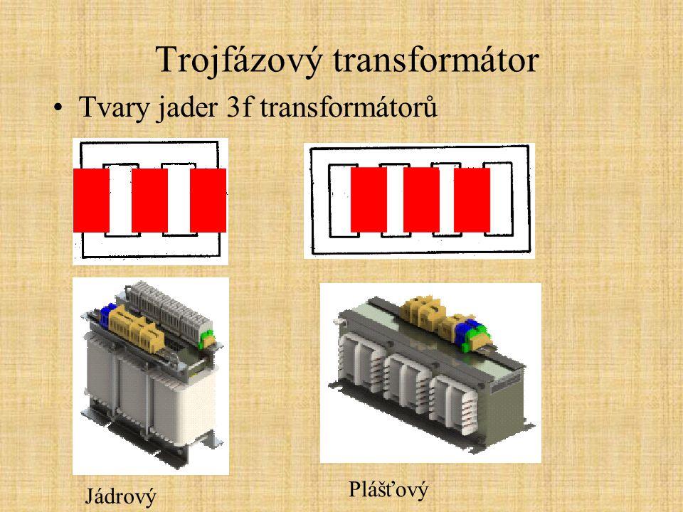 Trojfázový transformátor Chlazení Chladící látka: vzduch olej pevný izolant Oběh chladící látky: přirozený (přirozené proudění) nucený (automaticky spínané ventilátory) Chladící okruhy: chlazení aktivních částí vnější chlazení chladící látky Používané chladící látky:transformátorový olej *nestabilní, silně navlhavý * hořlavý *neekologický  pouze pro největší výkony vzduch- transformátory malých výkonů (suché t.) pevné izolanty -pro střední výkony nejpoužívanější