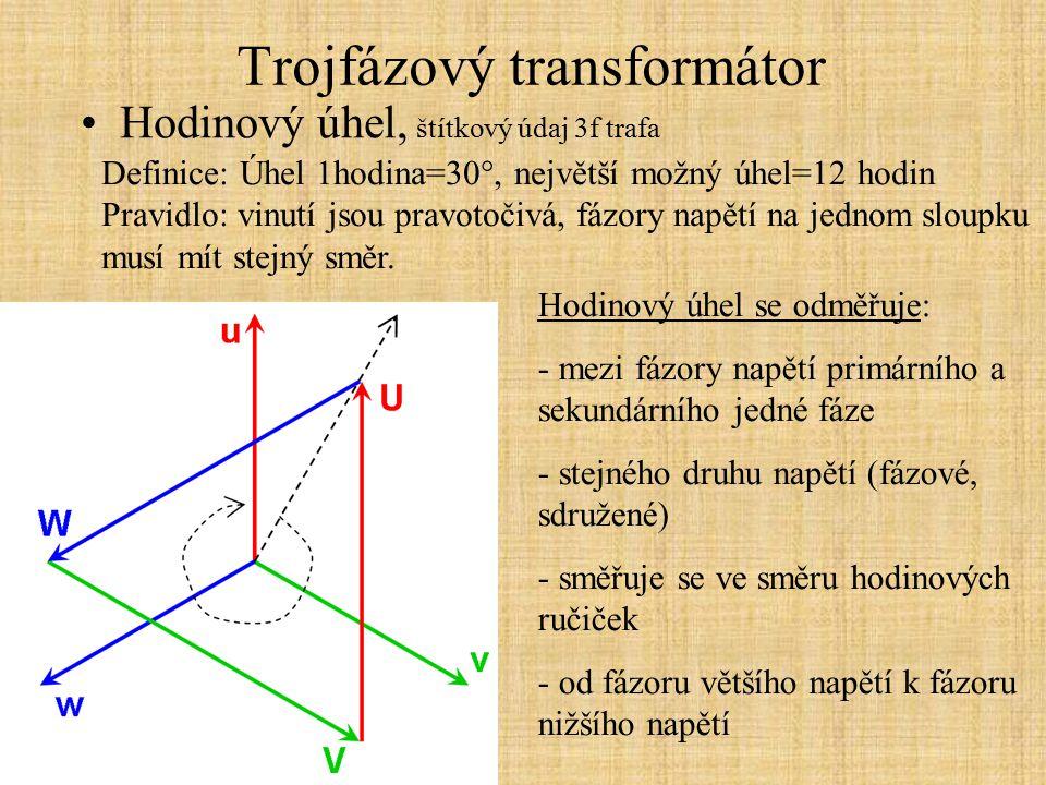Trojfázový transformátor Nesymetrická zátěž Je zapříčiněna nerovnoměrným rozmístěním jednofázových spotřebičů mezi jednotlivé fáze sítě.