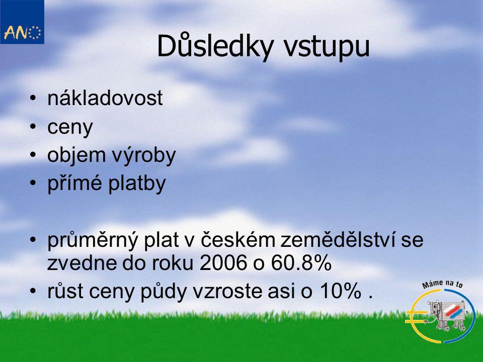 Důsledky vstupu nákladovost ceny objem výroby přímé platby průměrný plat v českém zemědělství se zvedne do roku 2006 o 60.8% růst ceny půdy vzroste asi o 10%.