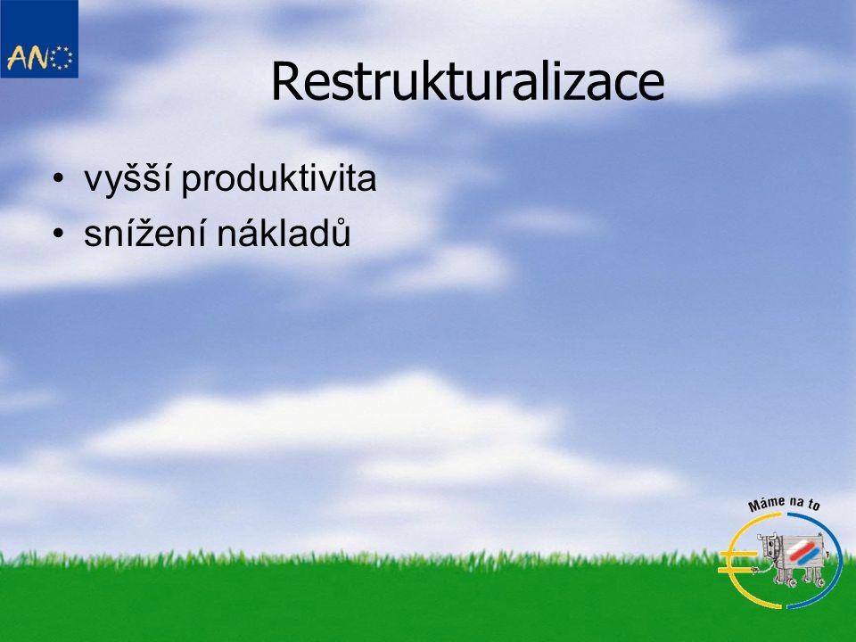 Restrukturalizace vyšší produktivita snížení nákladů