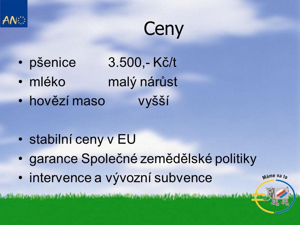 Ceny pšenice 3.500,- Kč/t mléko malý nárůst hovězí maso vyšší stabilní ceny v EU garance Společné zemědělské politiky intervence a vývozní subvence