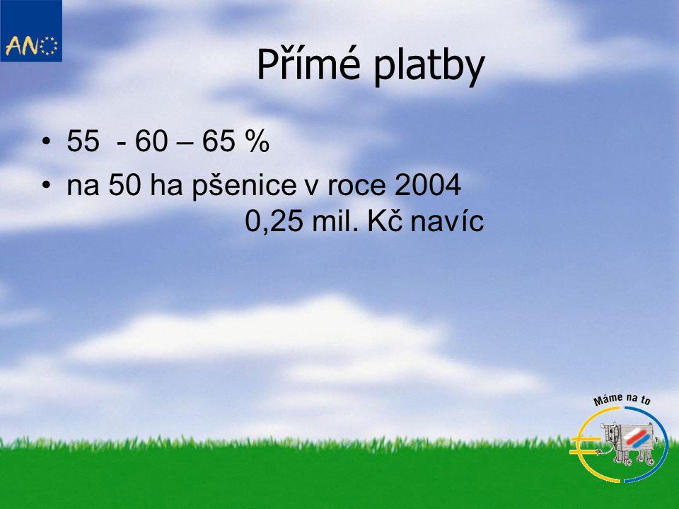 Přímé platby 55 - 60 – 65 % na 50 ha pšenice v roce 2004 0,25 mil. Kč navíc