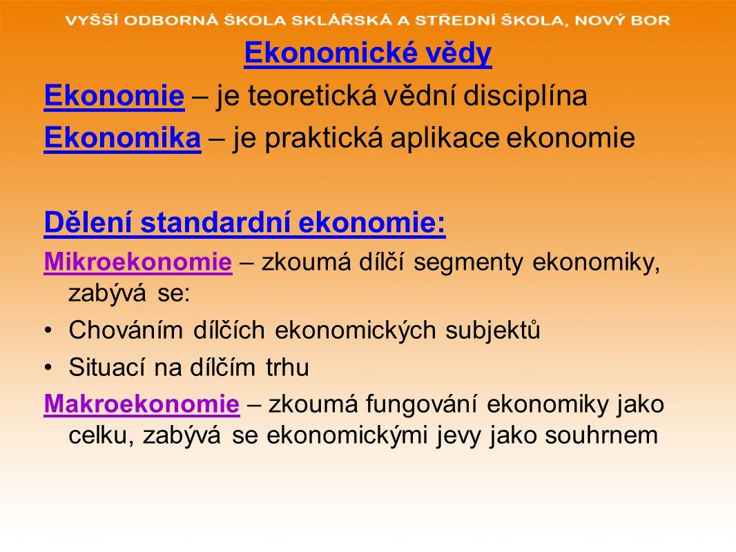 Ekonomické vědy Ekonomie – je teoretická vědní disciplína Ekonomika – je praktická aplikace ekonomie Dělení standardní ekonomie: Mikroekonomie – zkoum