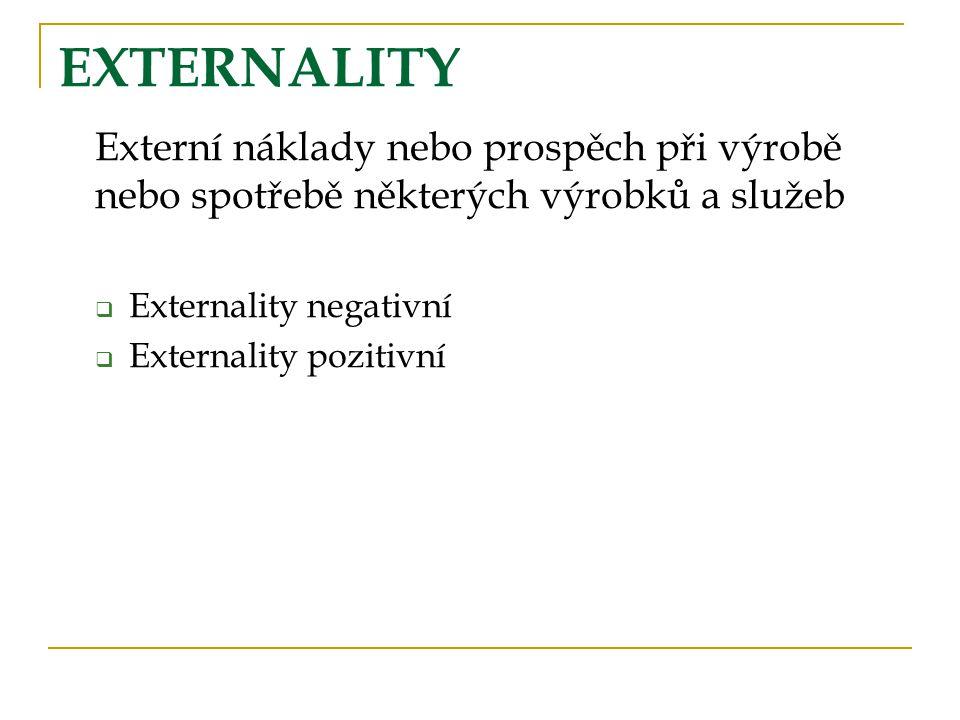 EXTERNALITY Externí náklady nebo prospěch při výrobě nebo spotřebě některých výrobků a služeb  Externality negativní  Externality pozitivní