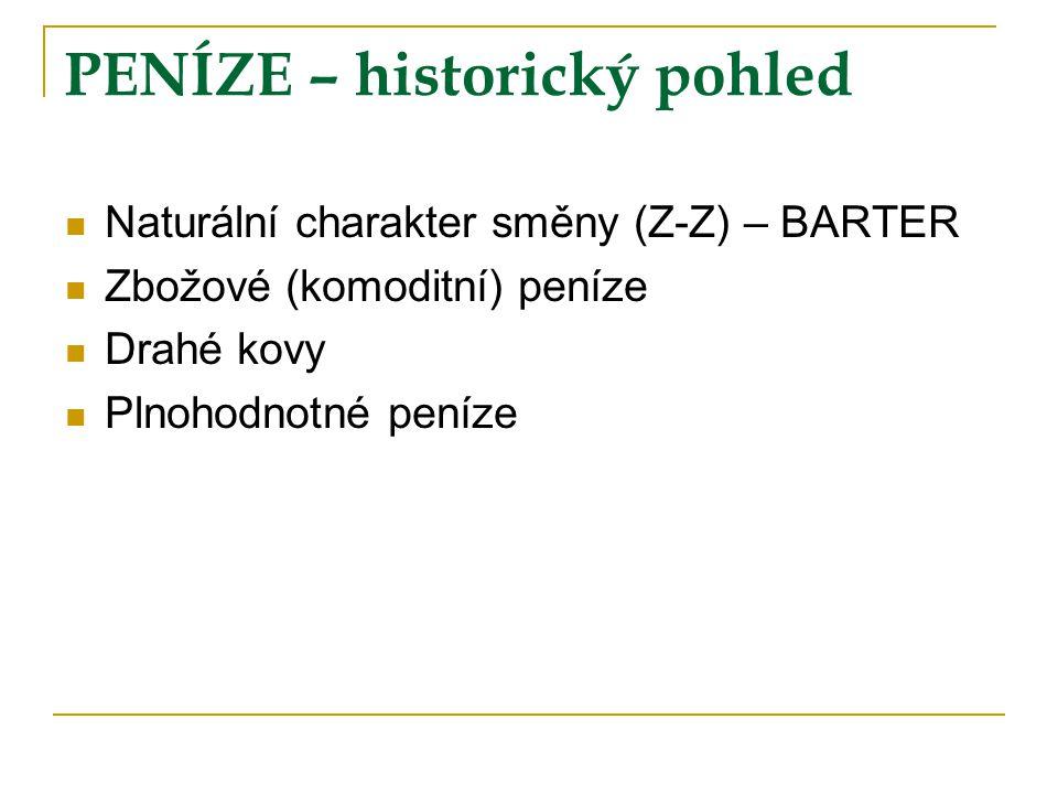 PENÍZE – historický pohled Naturální charakter směny (Z-Z) – BARTER Zbožové (komoditní) peníze Drahé kovy Plnohodnotné peníze