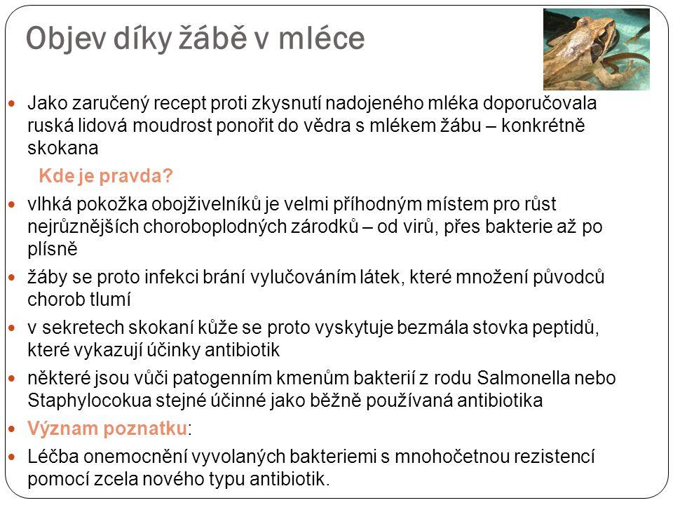 Objev díky žábě v mléce Jako zaručený recept proti zkysnutí nadojeného mléka doporučovala ruská lidová moudrost ponořit do vědra s mlékem žábu – konkrétně skokana Kde je pravda.
