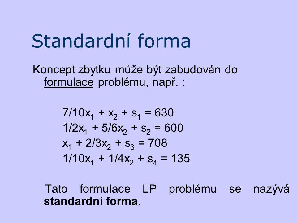 Standardní forma Koncept zbytku může být zabudován do formulace problému, např. : 7/10x 1 + x 2 + s 1 = 630 1/2x 1 + 5/6x 2 + s 2 = 600 x 1 + 2/3x 2 +