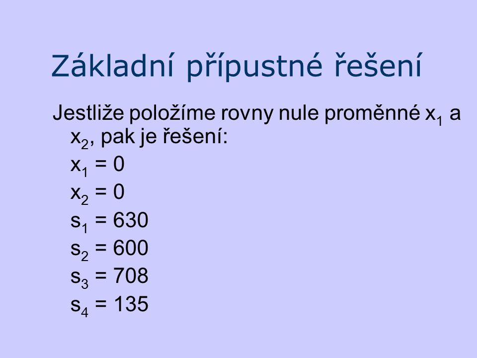 Základní přípustné řešení Jestliže položíme rovny nule proměnné x 1 a x 2, pak je řešení: x 1 = 0 x 2 = 0 s 1 = 630 s 2 = 600 s 3 = 708 s 4 = 135