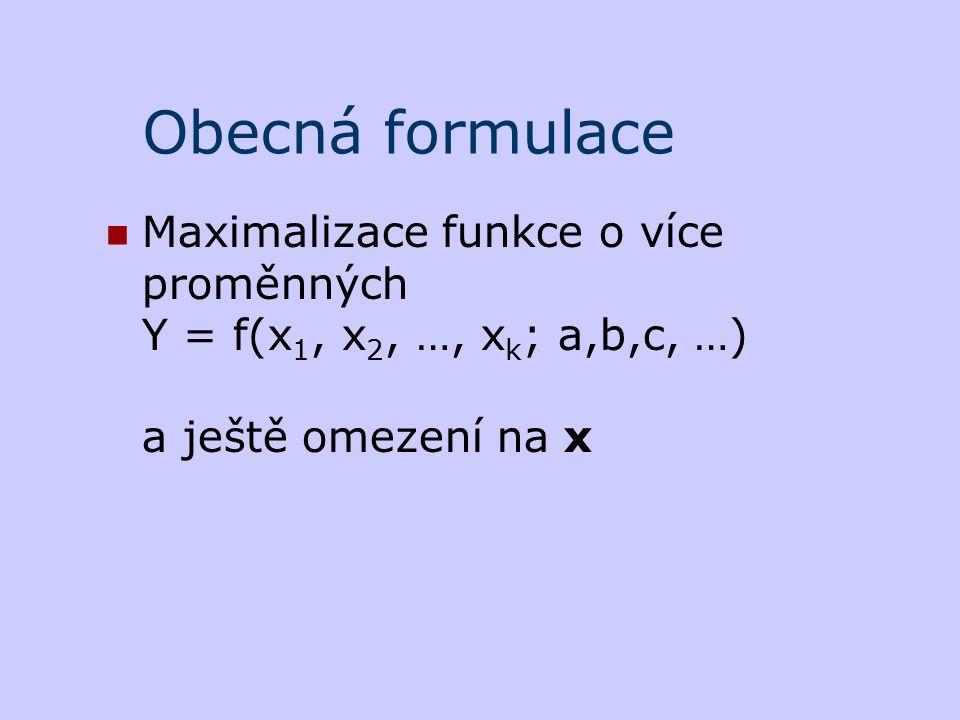 Obecná formulace Maximalizace funkce o více proměnných Y = f(x 1, x 2, …, x k ; a,b,c, …) a ještě omezení na x