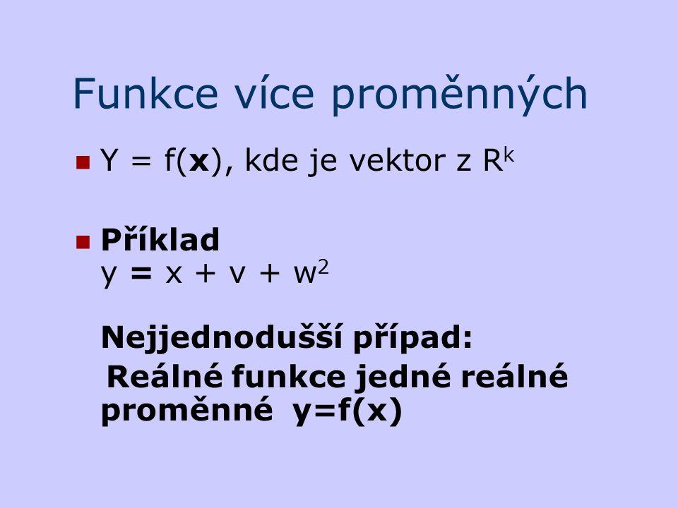 Funkce více proměnných Y = f(x), kde je vektor z R k Příklad y = x + v + w 2 Nejjednodušší případ: Reálné funkce jedné reálné proměnné y=f(x)
