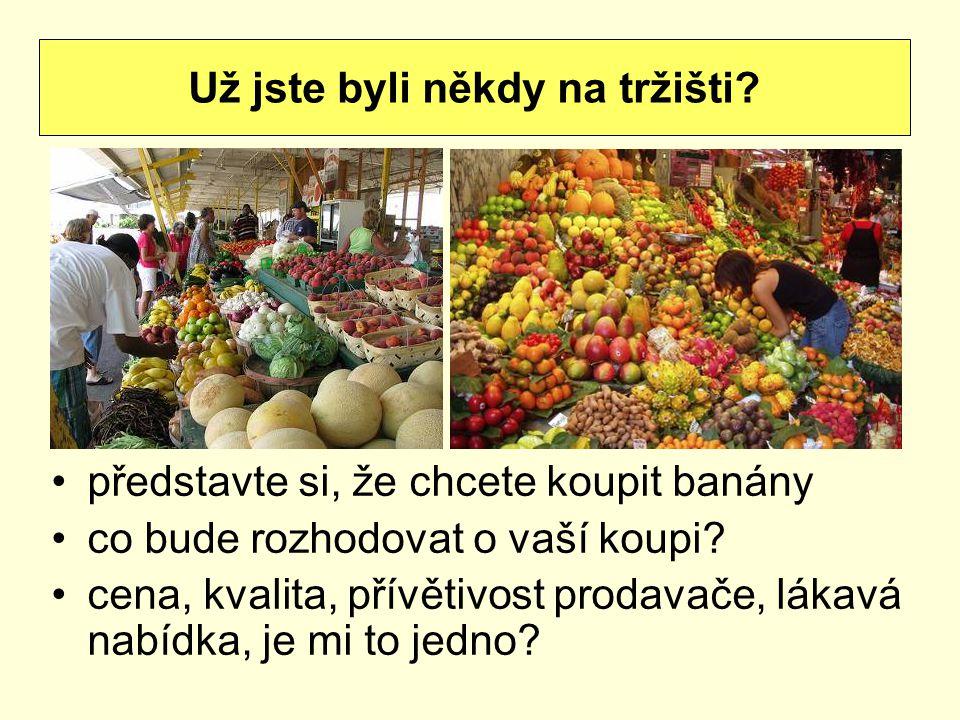 představte si, že chcete koupit banány co bude rozhodovat o vaší koupi? cena, kvalita, přívětivost prodavače, lákavá nabídka, je mi to jedno? Už jste