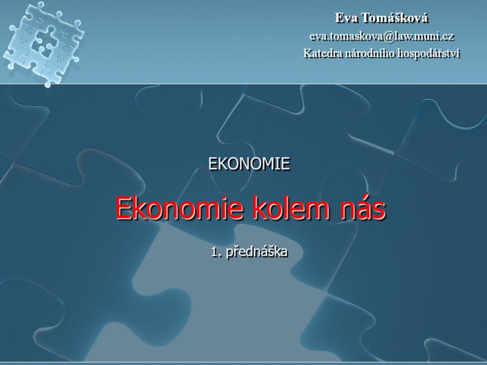 Ekonomie kolem nás EKONOMIE Ekonomie kolem nás 1. přednáška Eva Tomášková eva.tomaskova@law.muni.cz Katedra národního hospodářství Eva Tomášková eva.t