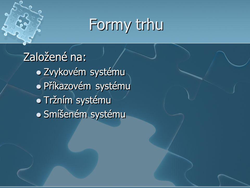 Formy trhu Založené na: Zvykovém systému Příkazovém systému Tržním systému Smíšeném systému Založené na: Zvykovém systému Příkazovém systému Tržním systému Smíšeném systému