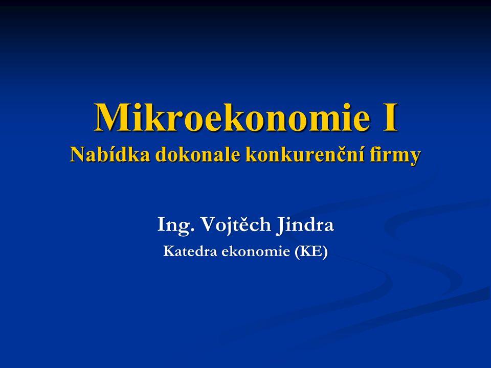 Mikroekonomie I Nabídka dokonale konkurenční firmy Ing.