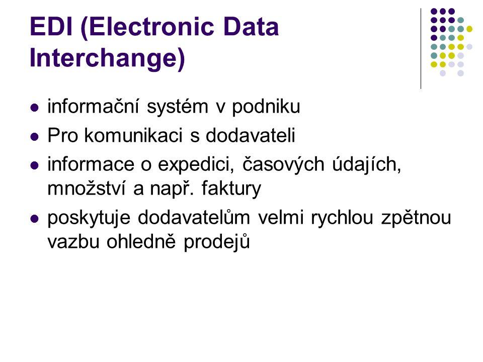 EDI (Electronic Data Interchange) informační systém v podniku Pro komunikaci s dodavateli informace o expedici, časových údajích, množství a např.