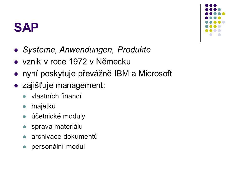 SAP Systeme, Anwendungen, Produkte vznik v roce 1972 v Německu nyní poskytuje převážně IBM a Microsoft zajišťuje management: vlastních financí majetku účetnické moduly správa materiálu archivace dokumentů personální modul