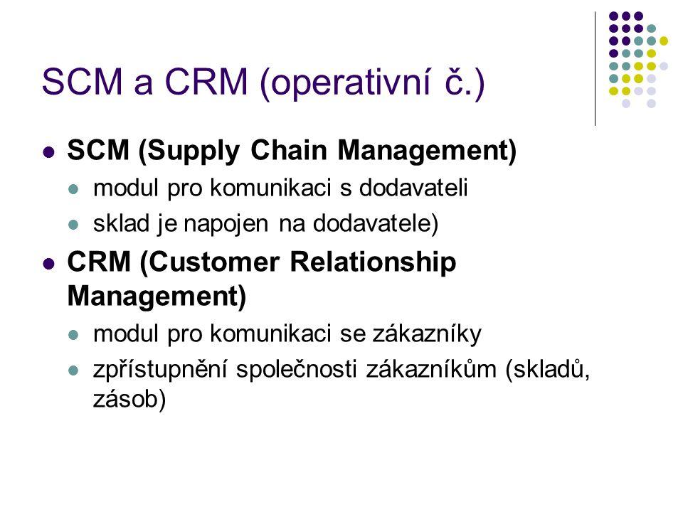 SCM a CRM (operativní č.) SCM (Supply Chain Management) modul pro komunikaci s dodavateli sklad je napojen na dodavatele) CRM (Customer Relationship Management) modul pro komunikaci se zákazníky zpřístupnění společnosti zákazníkům (skladů, zásob)