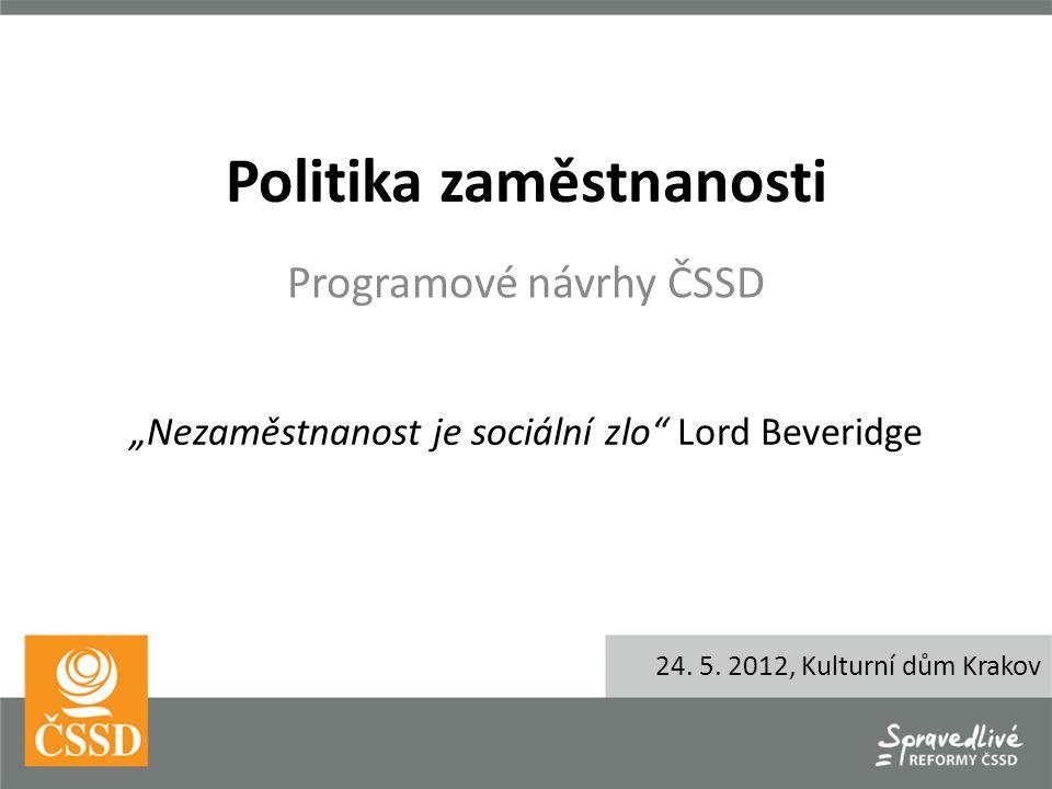 """Politika zaměstnanosti Programové návrhy ČSSD """"Nezaměstnanost je sociální zlo Lord Beveridge 24."""