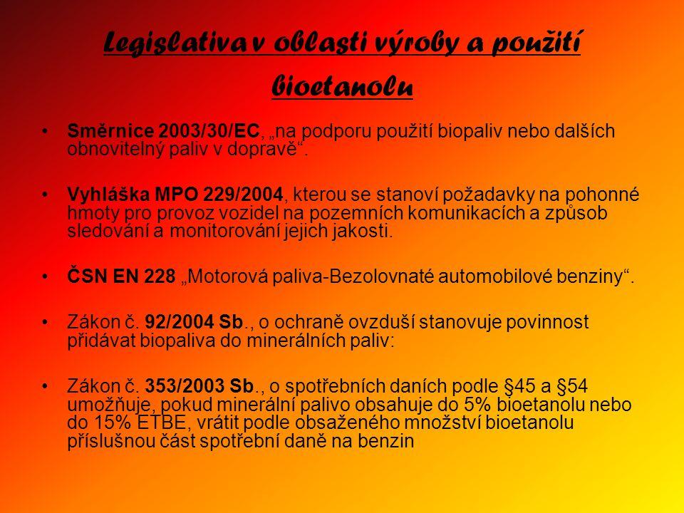 """Legislativa v oblasti výroby a použití bioetanolu Směrnice 2003/30/EC, """"na podporu použití biopaliv nebo dalších obnovitelný paliv v dopravě"""". Vyhlášk"""
