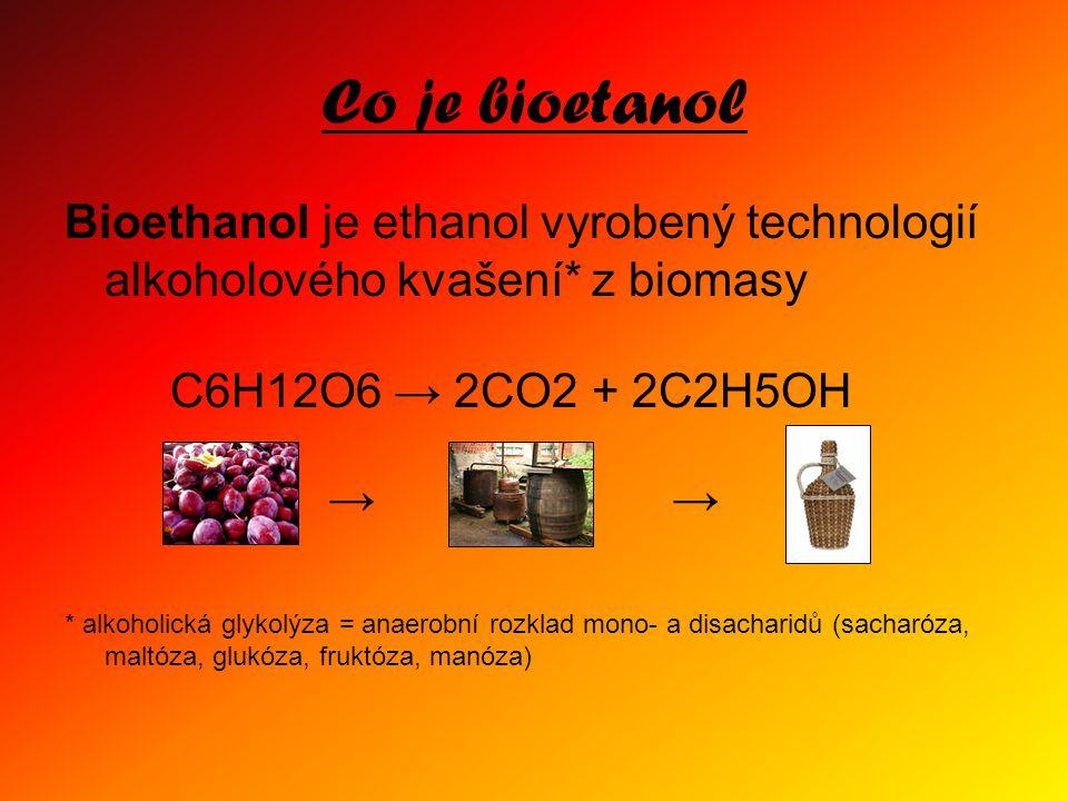 Co je bioetanol Bioethanol je ethanol vyrobený technologií alkoholového kvašení* z biomasy C6H12O6 → 2CO2 + 2C2H5OH → → * alkoholická glykolýza = anaerobní rozklad mono- a disacharidů (sacharóza, maltóza, glukóza, fruktóza, manóza)