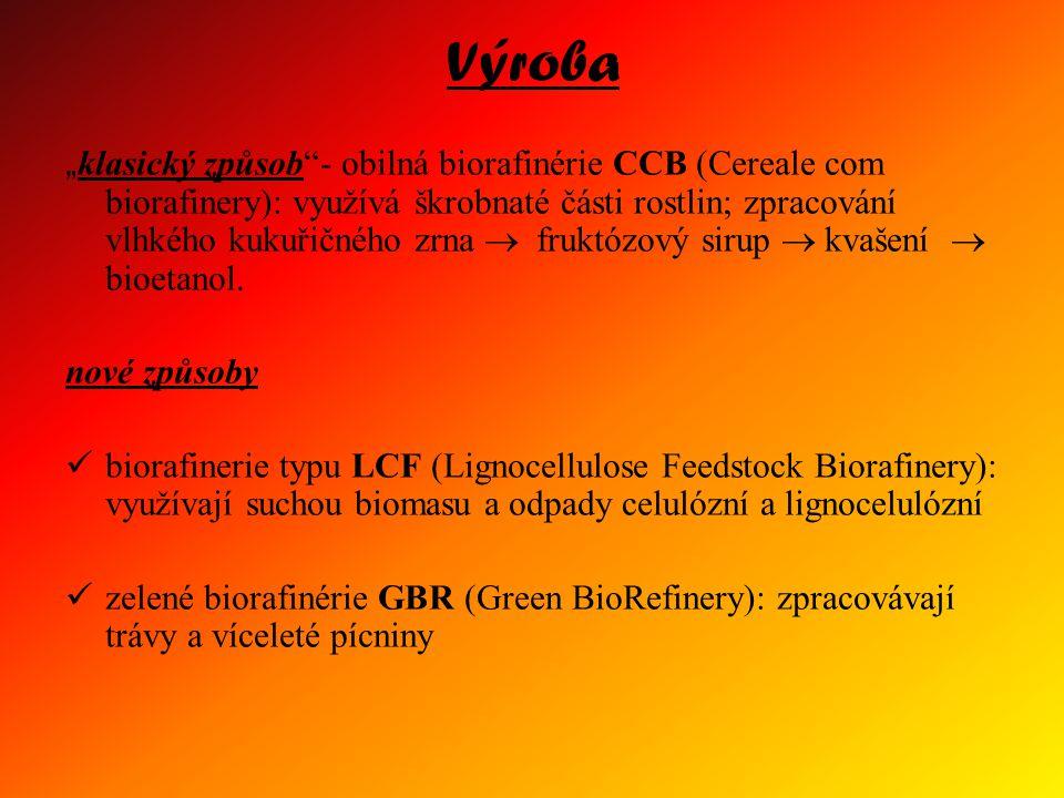 """Výroba """" klasický způsob""""- obilná biorafinérie CCB (Cereale com biorafinery): využívá škrobnaté části rostlin; zpracování vlhkého kukuřičného zrna  f"""