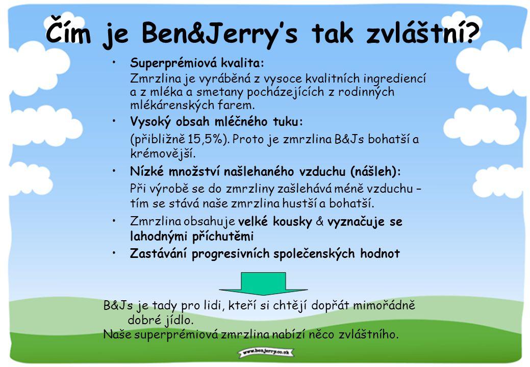 Čím je Ben&Jerry's tak zvláštní? B&Js je tady pro lidi, kteří si chtějí dopřát mimořádně dobré jídlo. Naše superprémiová zmrzlina nabízí něco zvláštní