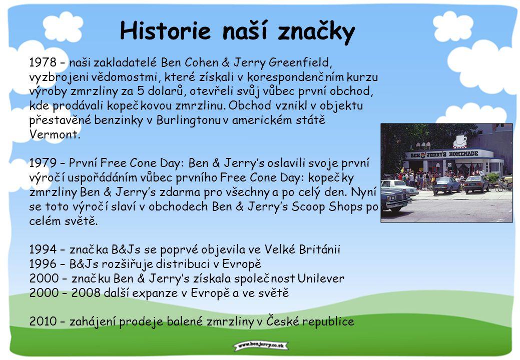 Historie naší značky 1978 – naši zakladatelé Ben Cohen & Jerry Greenfield, vyzbrojeni vědomostmi, které získali v korespondenčním kurzu výroby zmrzlin