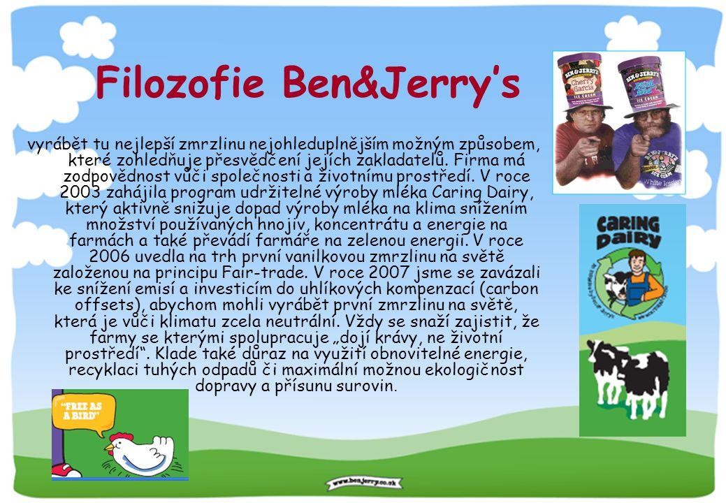 Filozofie Ben&Jerry's vyrábět tu nejlepší zmrzlinu nejohleduplnějším možným způsobem, které zohledňuje přesvědčení jejích zakladatelů. Firma má zodpov