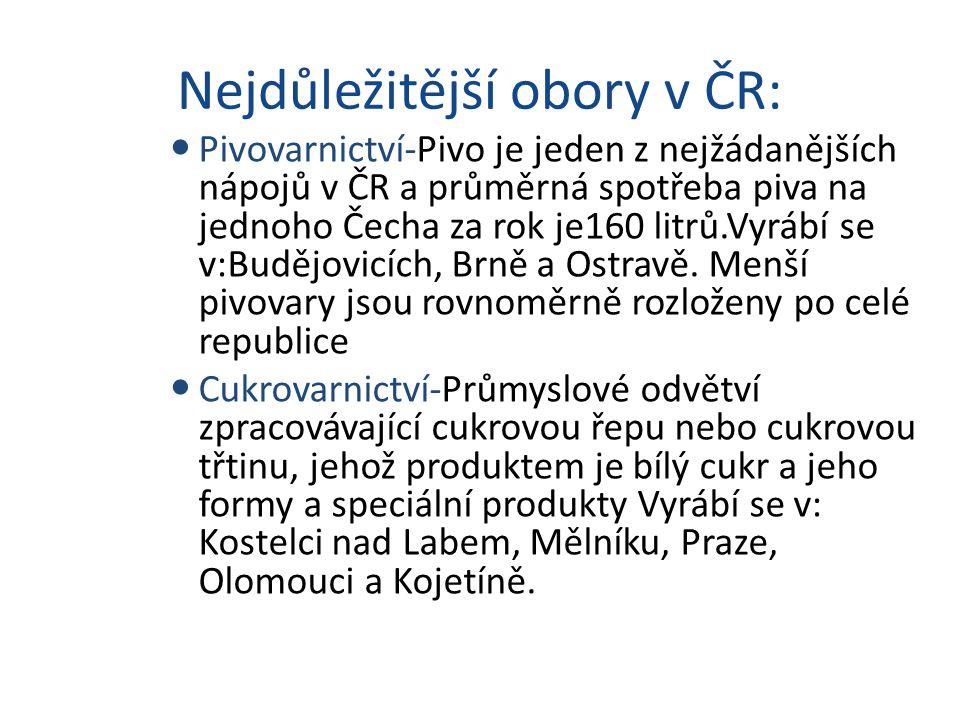 Nejdůležitější obory v ČR: Pivovarnictví-Pivo je jeden z nejžádanějších nápojů v ČR a průměrná spotřeba piva na jednoho Čecha za rok je160 litrů.Vyráb
