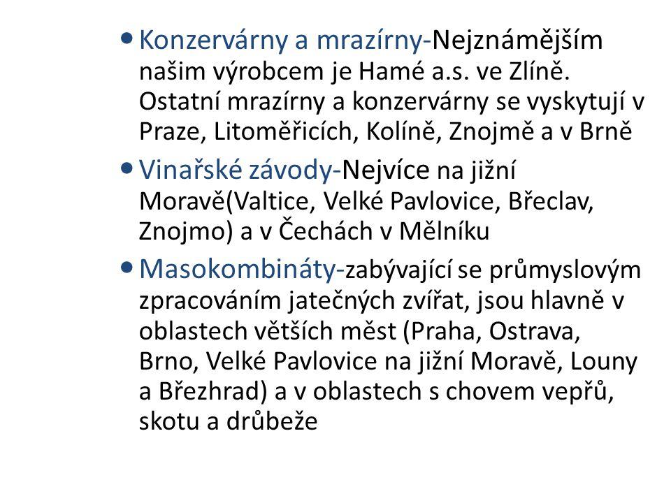 Konzervárny a mrazírny-Nejznámějším našim výrobcem je Hamé a.s. ve Zlíně. Ostatní mrazírny a konzervárny se vyskytují v Praze, Litoměřicích, Kolíně, Z