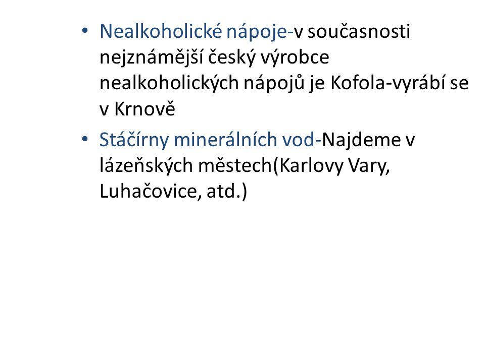Nealkoholické nápoje-v současnosti nejznámější český výrobce nealkoholických nápojů je Kofola-vyrábí se v Krnově Stáčírny minerálních vod-Najdeme v lá
