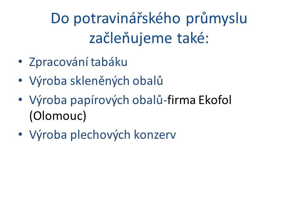 Do potravinářského průmyslu začleňujeme také: Zpracování tabáku Výroba skleněných obalů Výroba papírových obalů-firma Ekofol (Olomouc) Výroba plechový