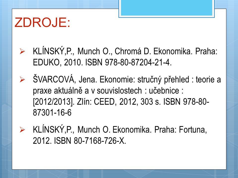 ZDROJE:  KLÍNSKÝ,P., Munch O., Chromá D. Ekonomika. Praha: EDUKO, 2010. ISBN 978-80-87204-21-4.  ŠVARCOVÁ, Jena. Ekonomie: stručný přehled : teorie