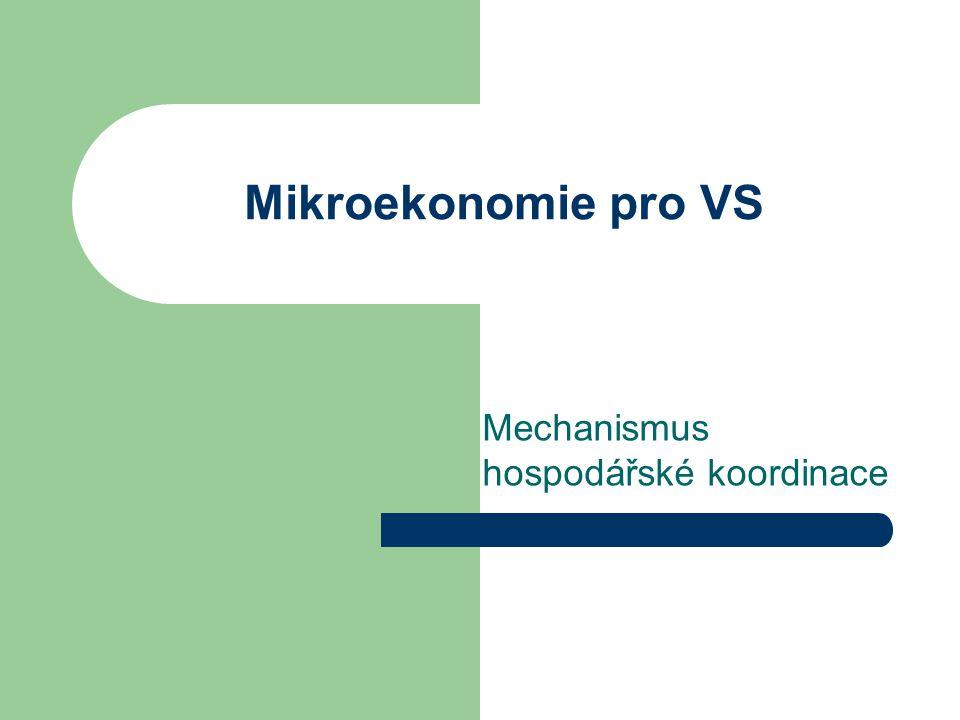 Mikroekonomie pro VS Mechanismus hospodářské koordinace