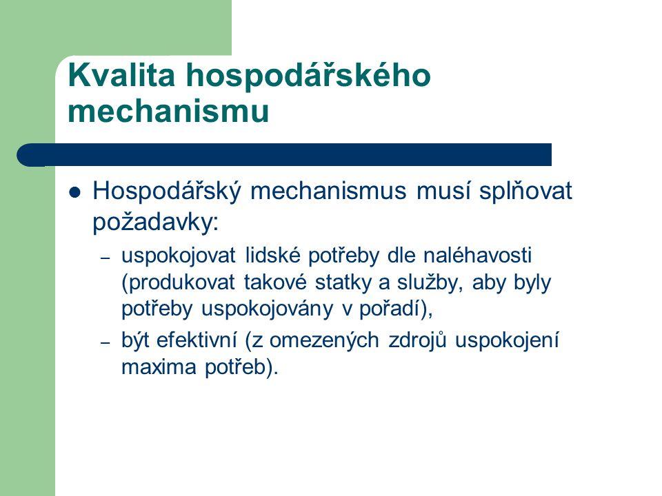 Kvalita hospodářského mechanismu Hospodářský mechanismus musí splňovat požadavky: – uspokojovat lidské potřeby dle naléhavosti (produkovat takové stat