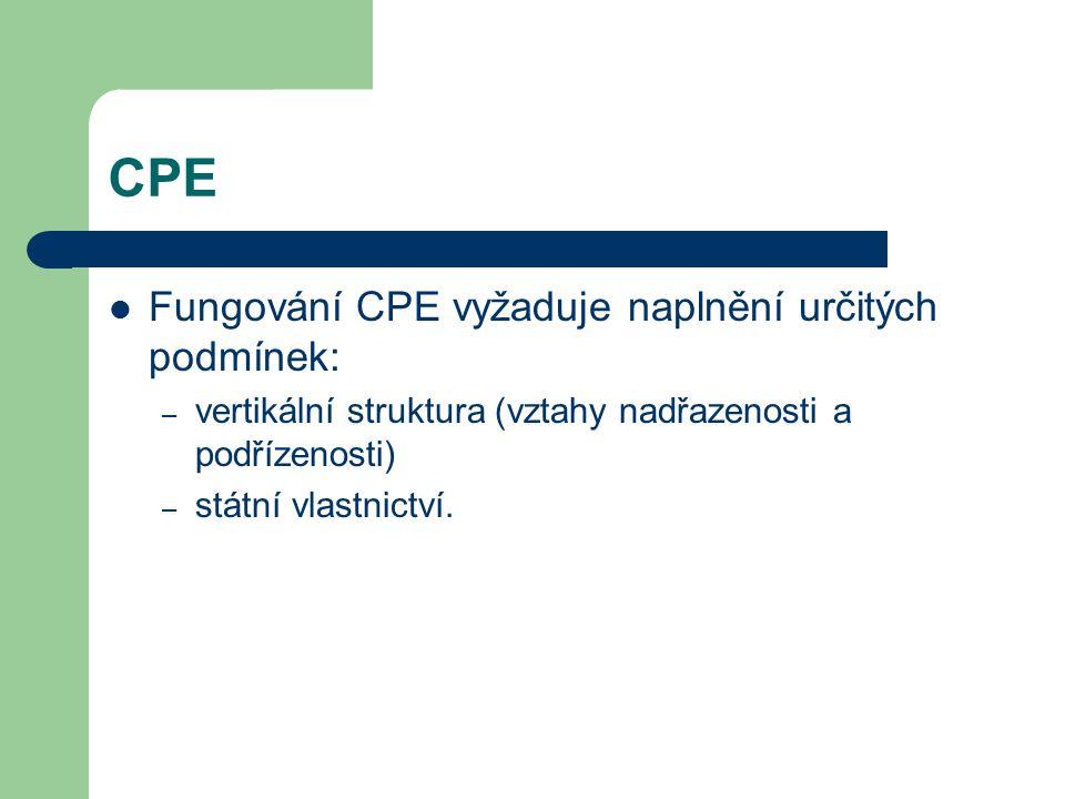 CPE Fungování CPE vyžaduje naplnění určitých podmínek: – vertikální struktura (vztahy nadřazenosti a podřízenosti) – státní vlastnictví.
