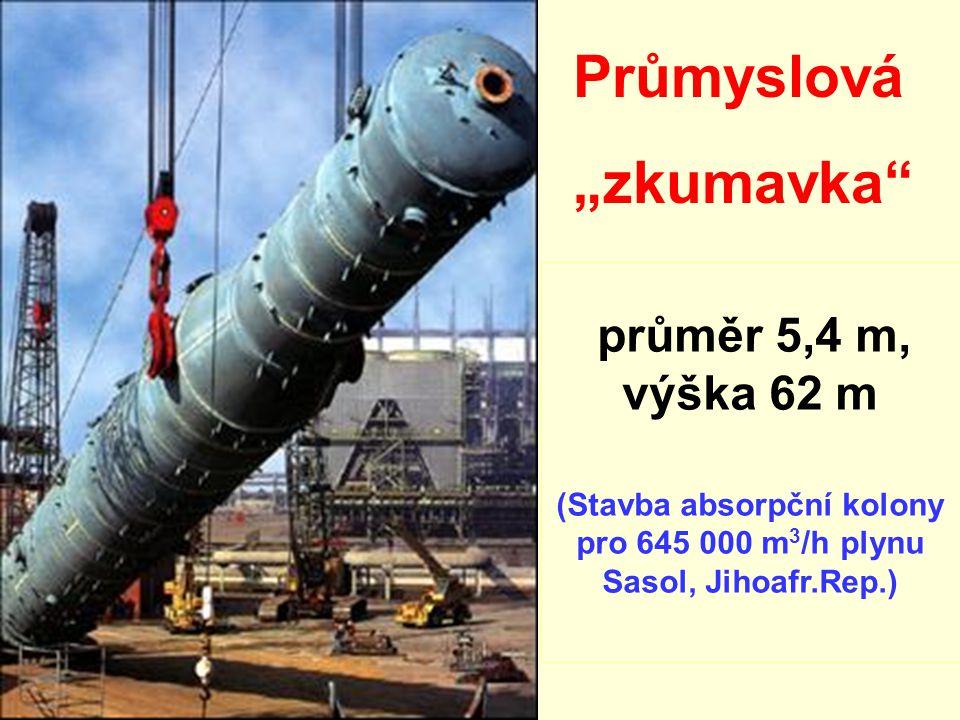 """průměr 5,4 m, výška 62 m (Stavba absorpční kolony pro 645 000 m 3 /h plynu Sasol, Jihoafr.Rep.) Průmyslová """"zkumavka"""