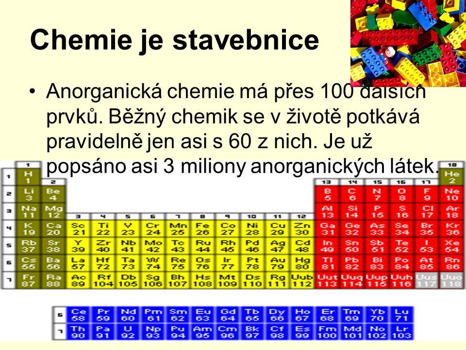 Chemie je stavebnice Anorganická chemie má přes 100 dalších prvků.